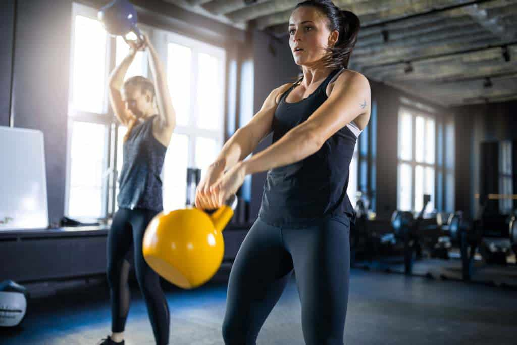 High intensity interval workout with kettlebells