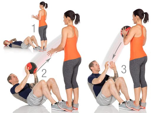sit up chest pass with a medicine ball