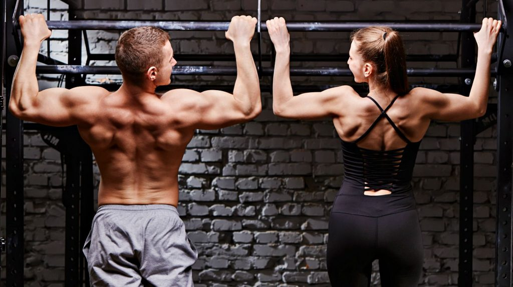 Strength training with pull ups